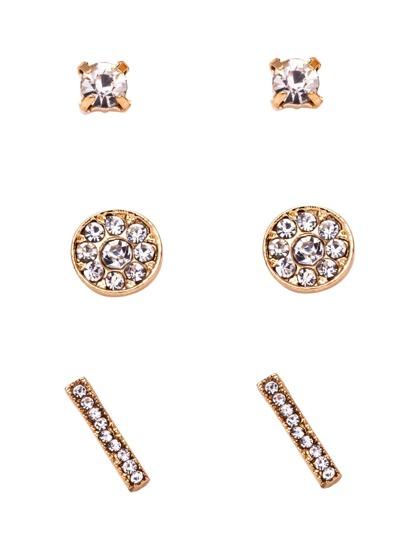 Gold Plated Rhinestone Encrusted Stud Earrings Set