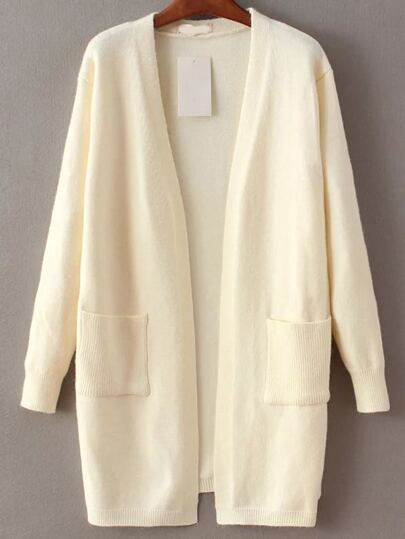 White Open Front Long Cardigan With Pocket