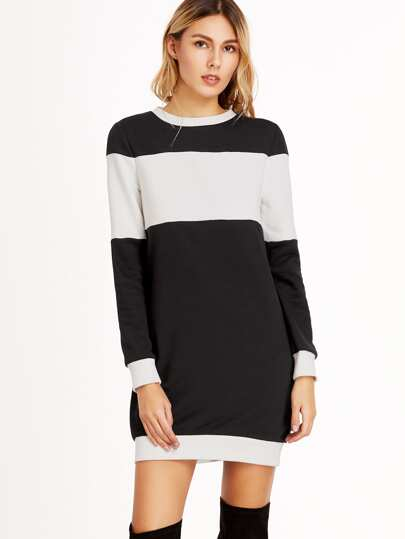 Black And White Ribbed Trim Sweatshirt Dress