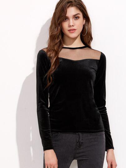 Black Mesh Insert Zipper Back Velvet T-shirt