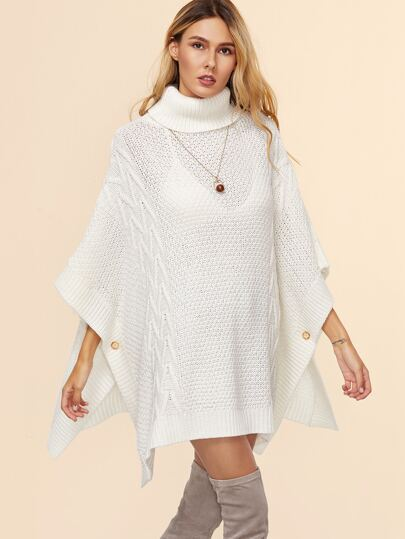 White Geo Pattern Turtleneck Buttoned Poncho Sweater