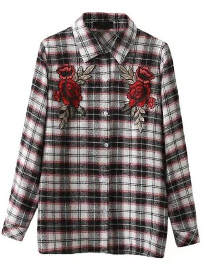Plaid Floral Embroidery Button Blouse