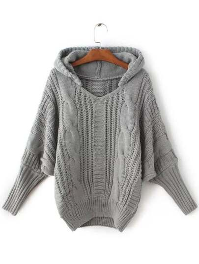 Grey Cable Knit Hooded Sweater