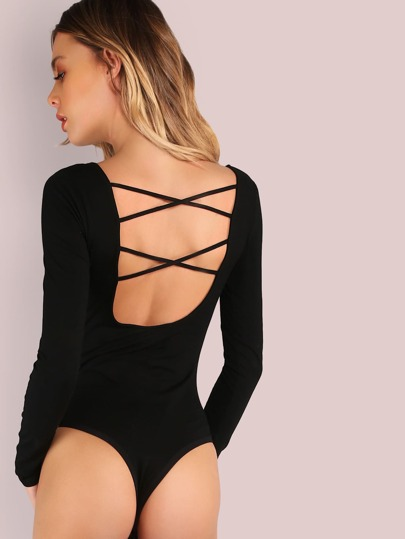 Long Sleeve Low Back Double Cross Back Bodysuit BLACK