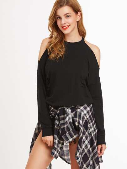 Sweatshirt mit Zerrissen Design Cut-Outs am Schulter-schwarz