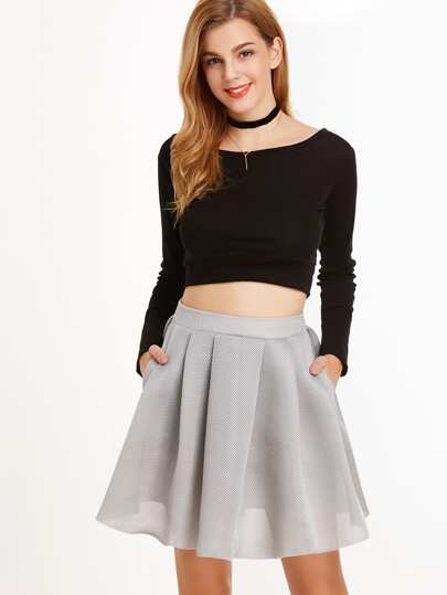 Box Pleated Flare Mesh Skirt