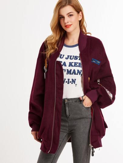 Burgundy Ribbed Trim Drop Shoulder Embroidered Patch Jacket