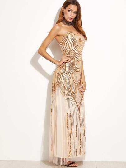 Gold Sequined Mesh Overlay Lace Up Back Tube Dress