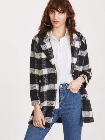 Модное клетчатое однобортное пальто