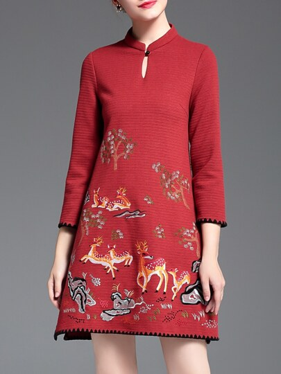 Red Hollow Sika Deer Embroidered Shift Dress