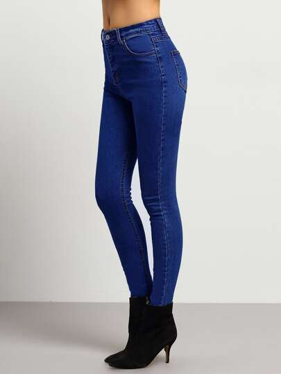 Blue Middle Waist Skinny Jeans