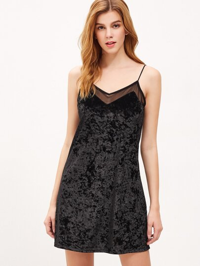 Black Mesh Insert Velvet Cami Dress