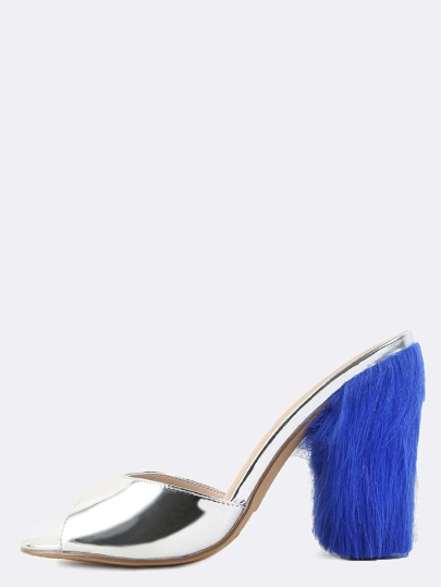 Contrast Faux Fur Slip On Heels SILVER
