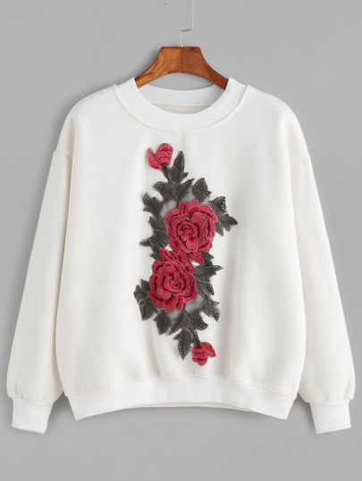 Drop Shoulder Flower Embroidered Sweatshirt