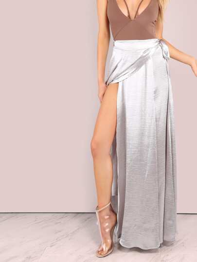 Shiny Faux Satin Wrap Skirt