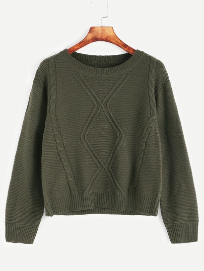 Dark Green Drop Shoulder Cable Knit Sweater