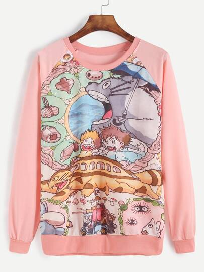 Pink Cartoon Print Raglan Sleeve Sweatshirt