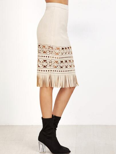 Apricot Suede Laser Cutout Fringe Skirt