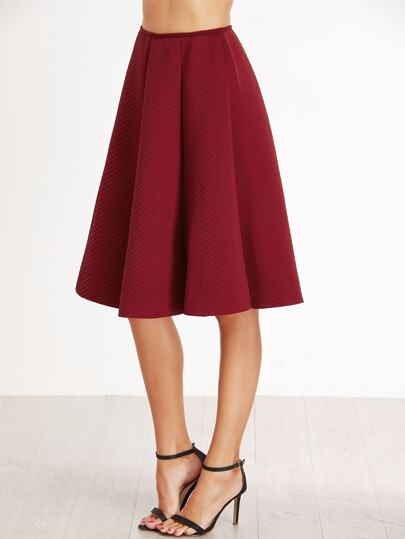 Burgundy Zipper Back A-Line Skirt