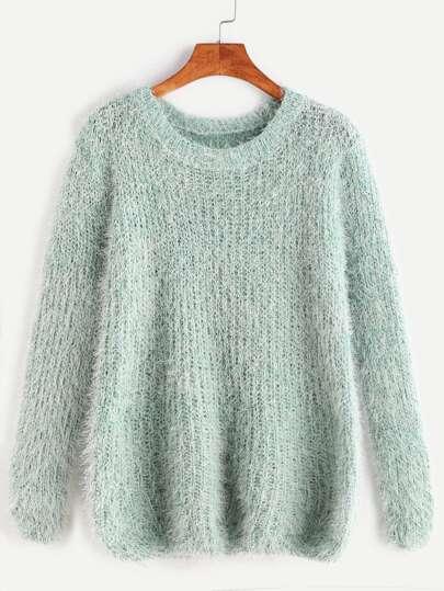 Pale Green Drop Shoulder Fuzzy Sweater