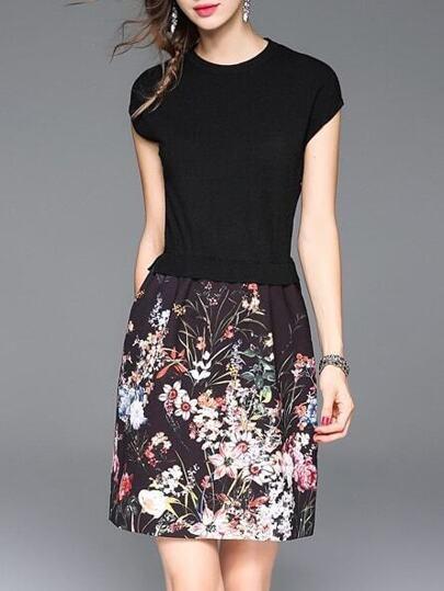Black Knit Print Combo Dress