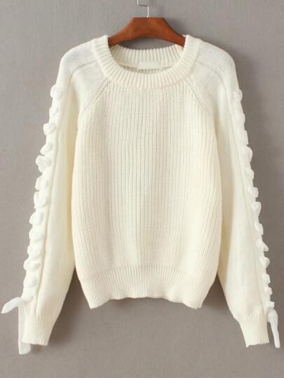 Jersey con manga raglán y detalle de cordón - blanco