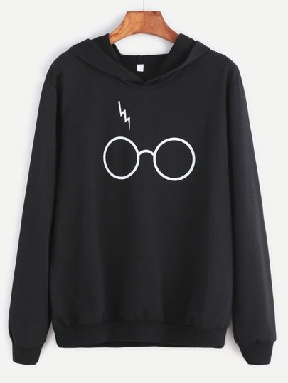 Black Eyeglass Print Hooded Sweatshirt