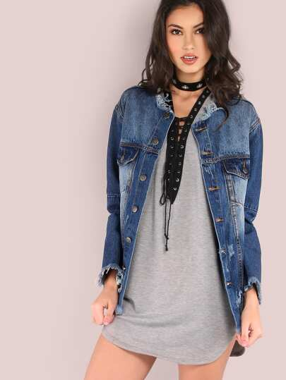 Distressed Raw Cut Denim Jacket