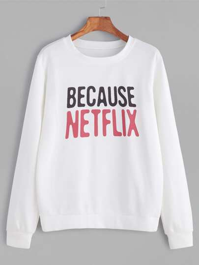 White Letter Print Casual Sweatshirt