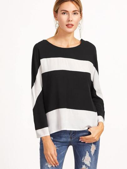 Black And White Striped Tie Back Blouse