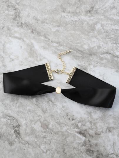 Gold Jewel Ribbon Choker BLACK