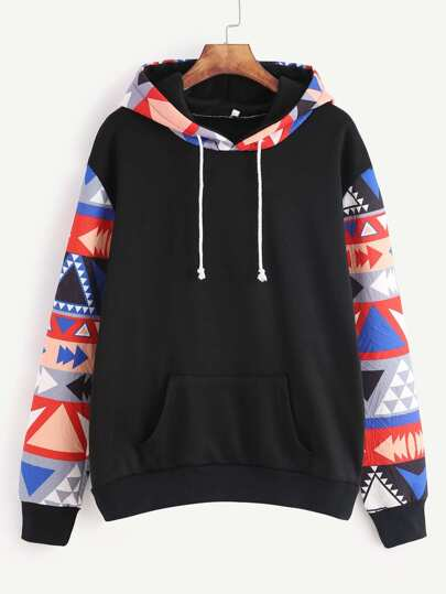Black Contrast Sleeve Hooded Sweatshirt