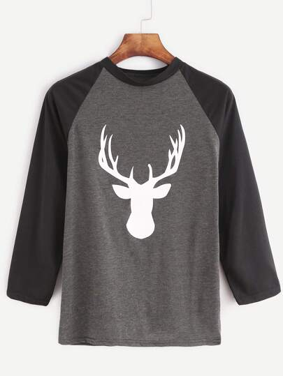 Contrast Raglan Sleeve Reindeer Print T-shirt