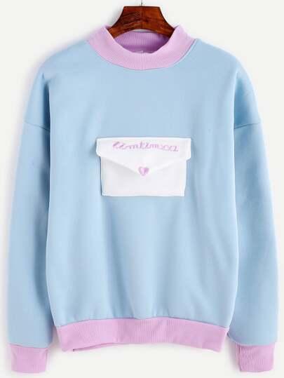 Pale Blue Contrast Trim Envelope Pocket Embroidered Sweatshirt