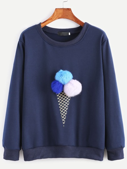 Ice Cream Print Pom Pom Sweatshirt