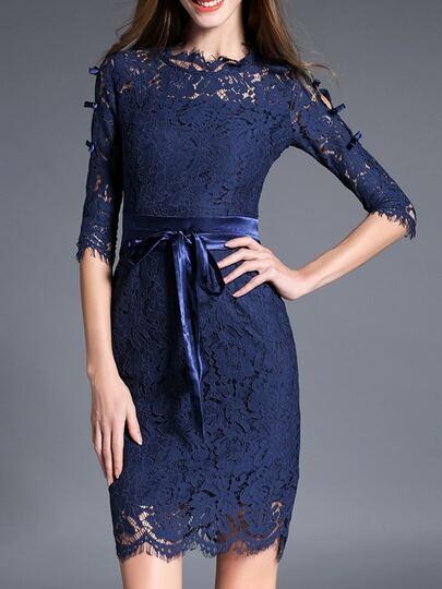 Blue Tie-Waist Bowknot Lace Sheath Dress