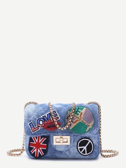 Sac en jean de pièce du logo avec chaîne mignonne métallique - bleu