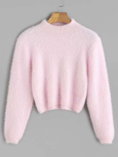 Pink Crew Neck Crop Fuzzy Sweater