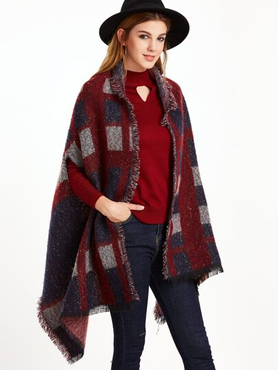 Navy and Red Eyelash Fringe Striped Fuzzy Shawl