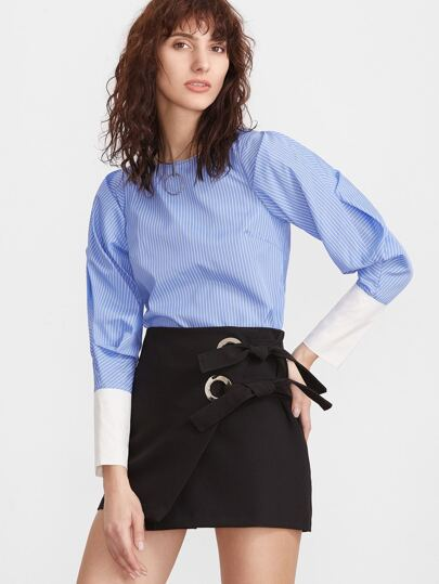 Blue Vertical Striped Puff Sleeve Contrast Cuff Blouse