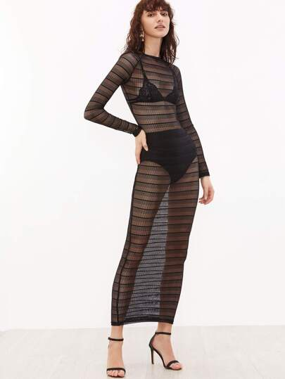 See-Through Sheer Striped Lace Dress