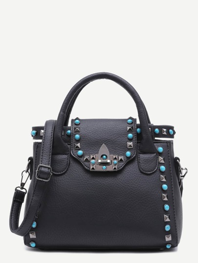 Black PU Twistlock Closure Studded Handbag With Strap