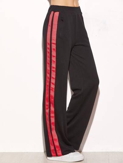 Pantalons larges à rayure avec zip et poche - noir