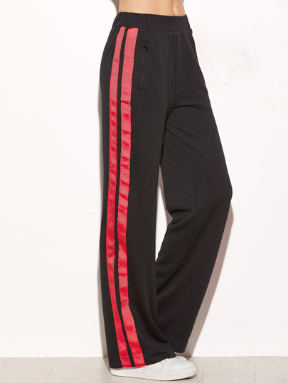 Pantalones de pernera ancha con rayas - negro