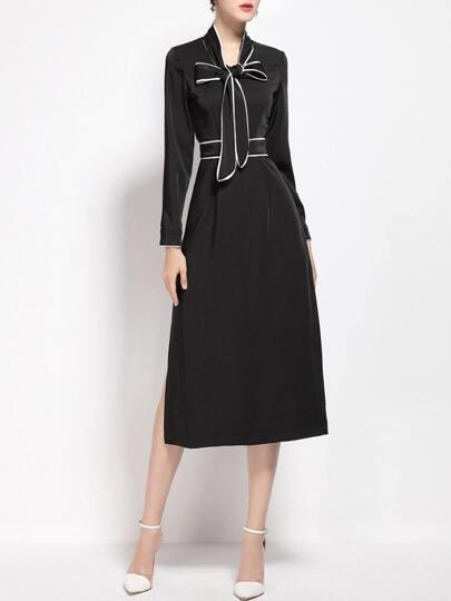 Black Bowknot Split Shift Dress