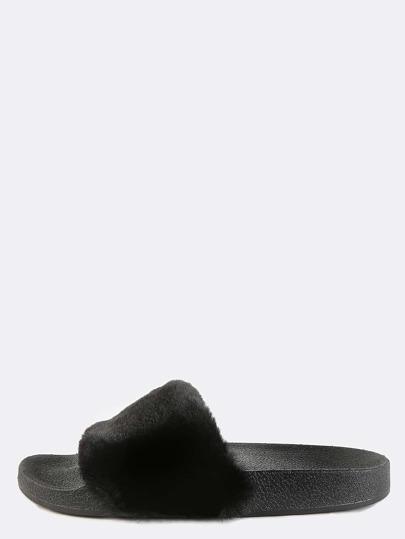 Open Toe Faux Fur Slide Sandals BLACK