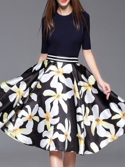 Black Knit Sweater Top With Print Skirt