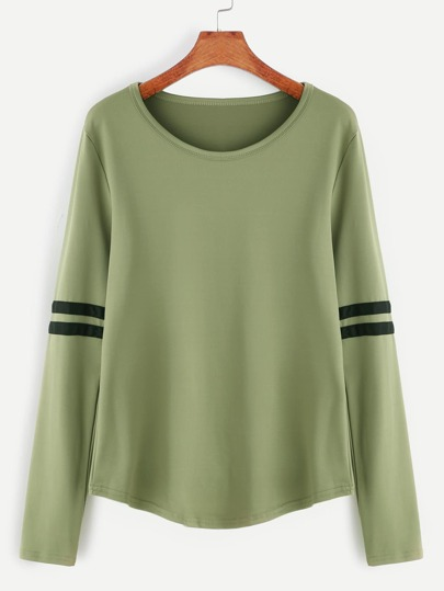 Army Green Varsity Stripe T-shirt