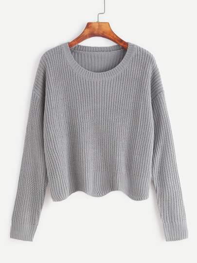 Jersey con hombro caído ribete ondulado - gris claro