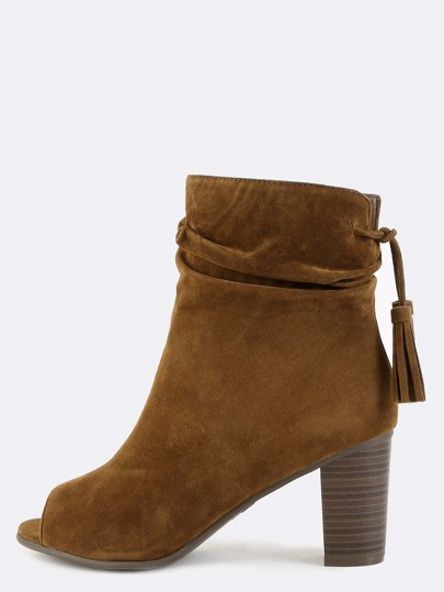 Slouchy Tassel Suede Ankle Boots TAN